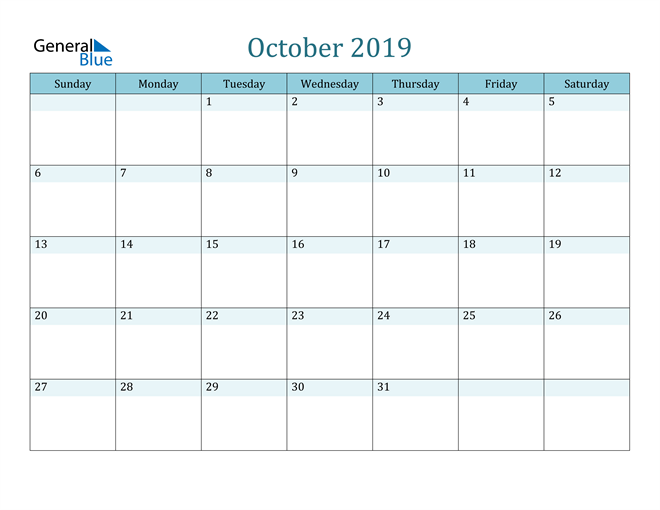 Image of October 2019 Colorful Turquoise Calendar in PDF, Word and Excel Calendar