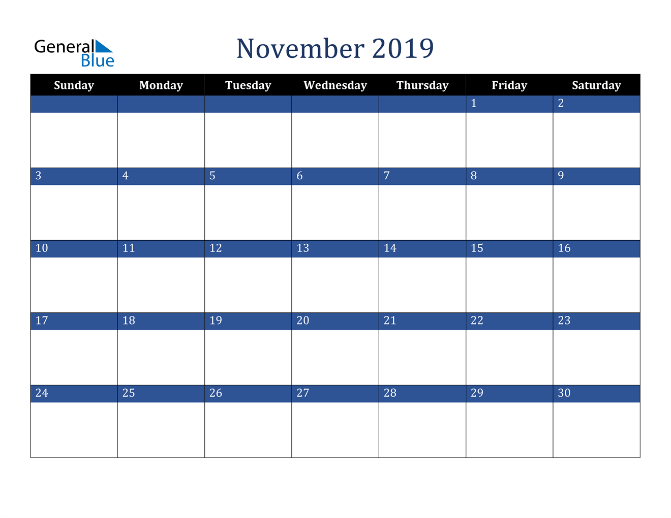 Image of November 2019 Stylish Dark Blue Calendar in PDF, Word and Excel Calendar