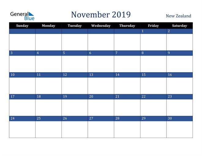 Image of November 2019 Stylish Dark Blue Calendar in PDF, Word and Excel Calendar