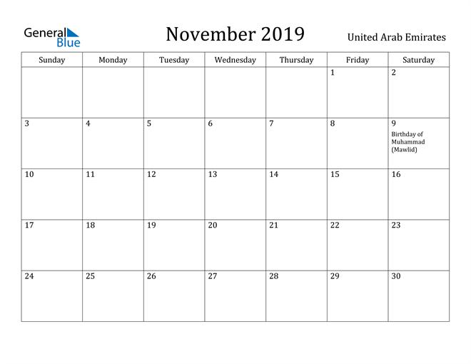 Image of November 2019 United Arab Emirates Calendar with Holidays Calendar