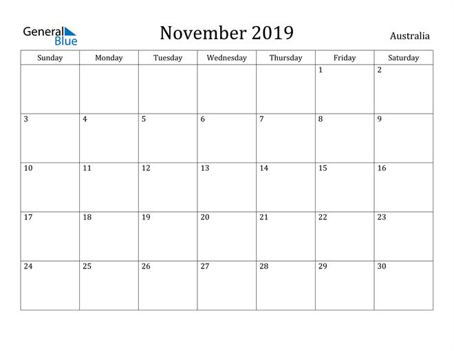 Image of November 2019 Australia Calendar with Holidays Calendar