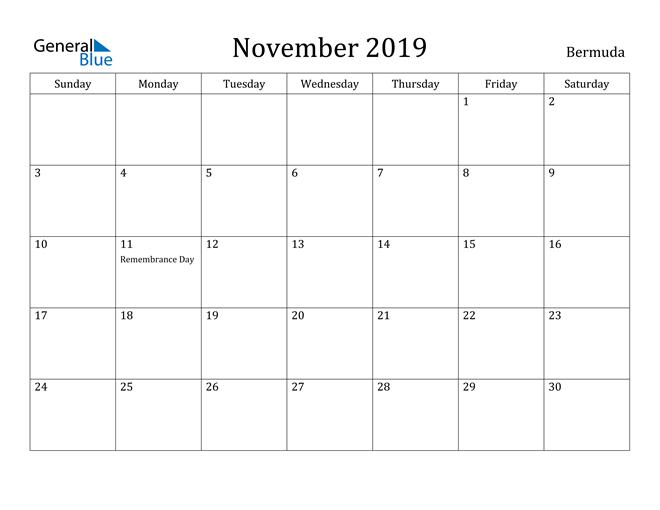 Image of November 2019 Bermuda Calendar with Holidays Calendar