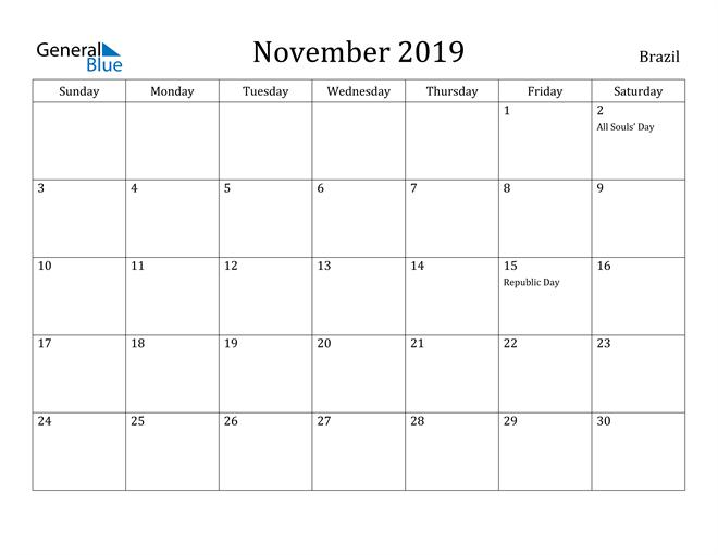 Image of November 2019 Brazil Calendar with Holidays Calendar
