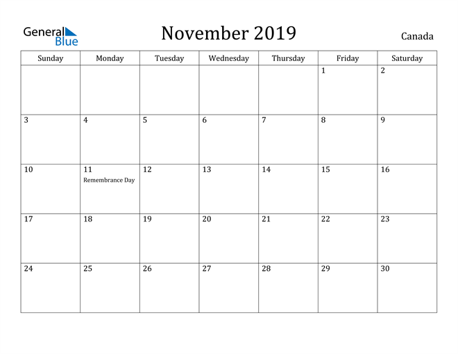Image of November 2019 Canada Calendar with Holidays Calendar