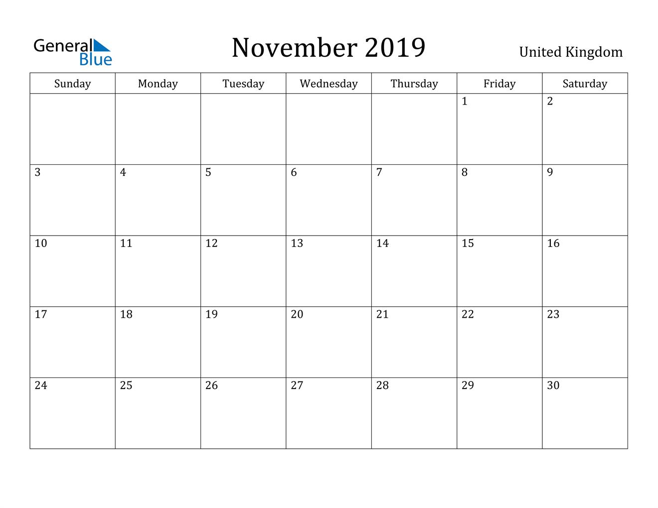 Image of November 2019 United Kingdom Calendar with Holidays Calendar