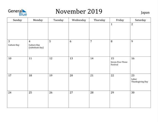 Image of November 2019 Japan Calendar with Holidays Calendar