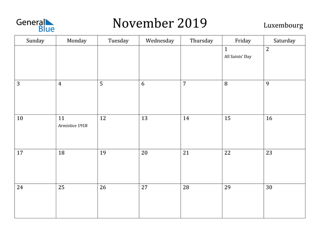 Image of November 2019 Luxembourg Calendar with Holidays Calendar