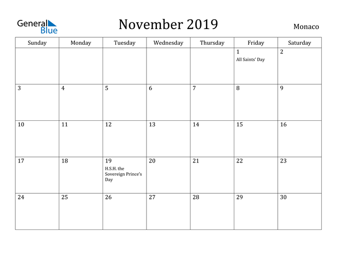 Image of November 2019 Monaco Calendar with Holidays Calendar