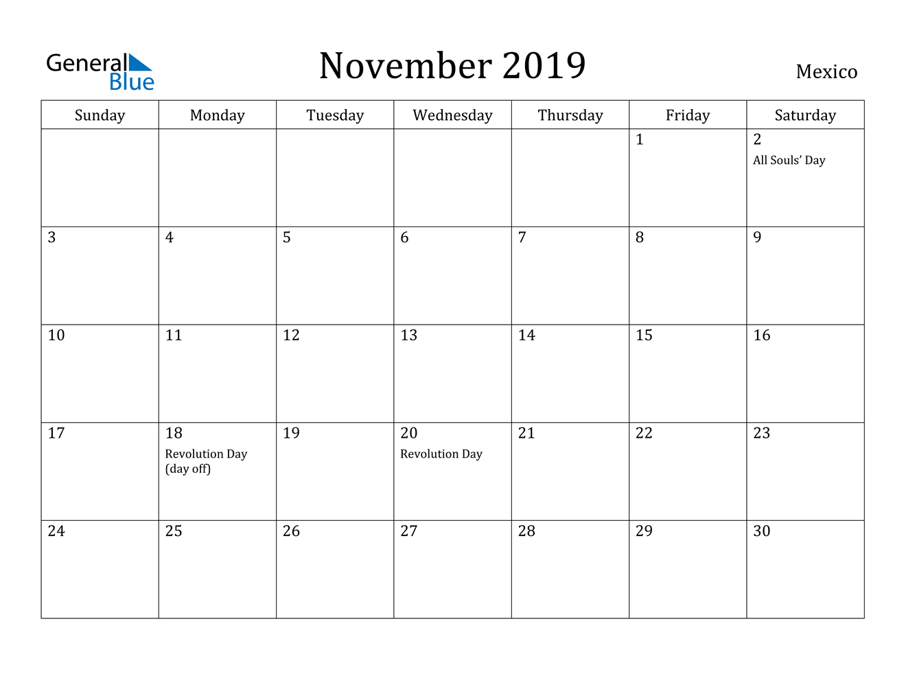 Image of November 2019 Mexico Calendar with Holidays Calendar