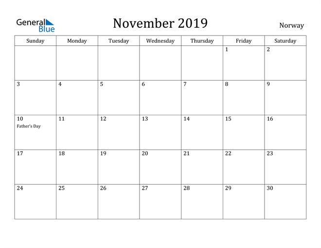 Image of November 2019 Norway Calendar with Holidays Calendar