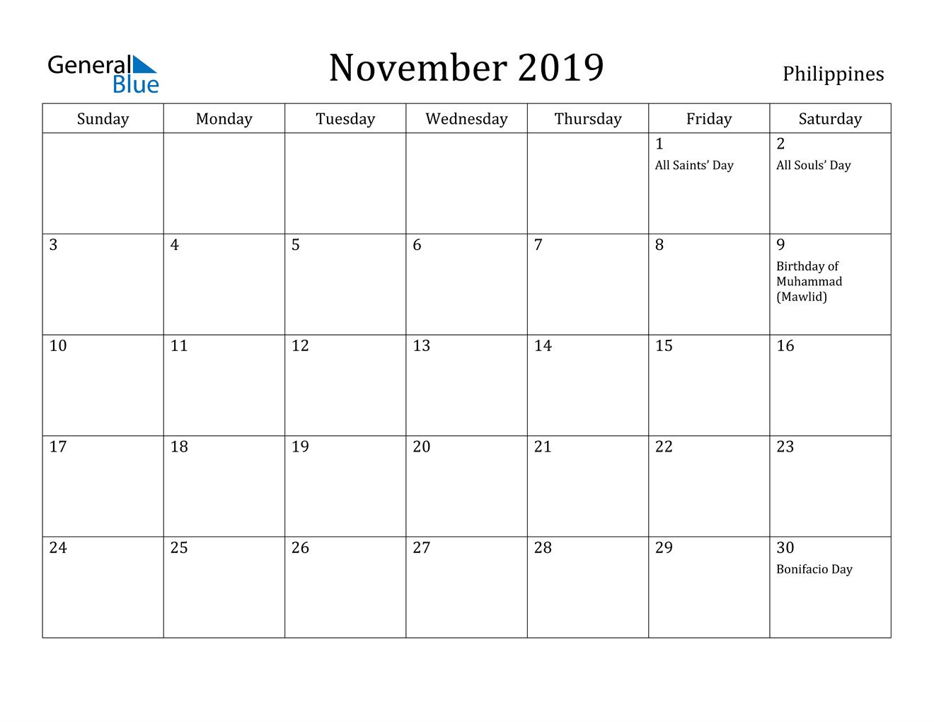 Image of November 2019 Philippines Calendar with Holidays Calendar