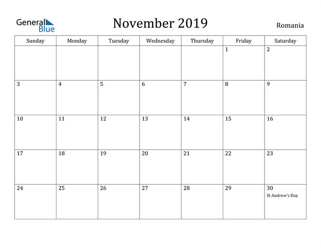 Image of November 2019 Romania Calendar with Holidays Calendar