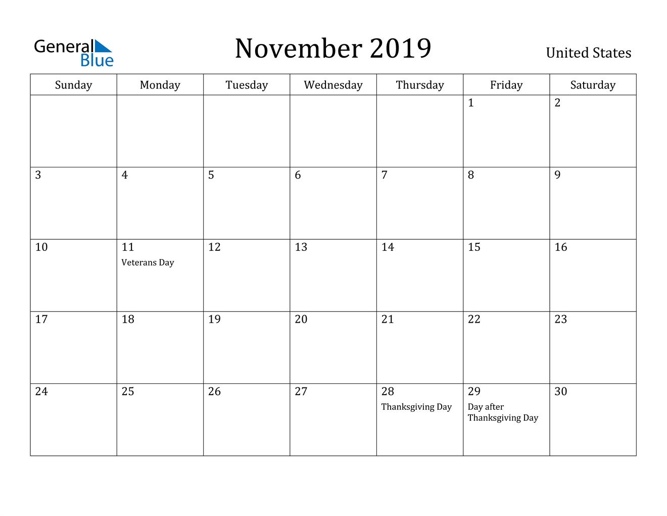 Image of November 2019 United States Calendar with Holidays Calendar