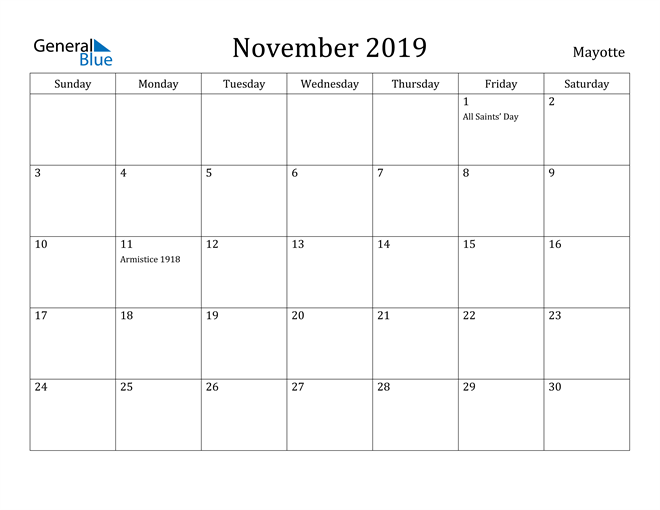 Image of November 2019 Mayotte Calendar with Holidays Calendar