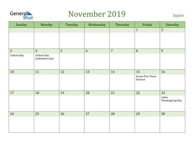 Image of November 2019 Cool and Relaxing Green Calendar Calendar