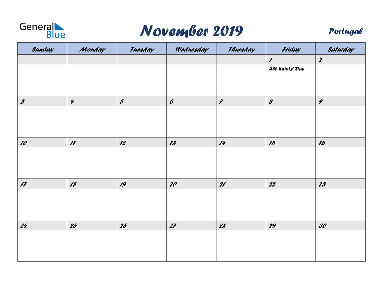 Image of November 2019 Italicized and Cool Blue, A Fun Calendar in PDF, Word and Excel Calendar