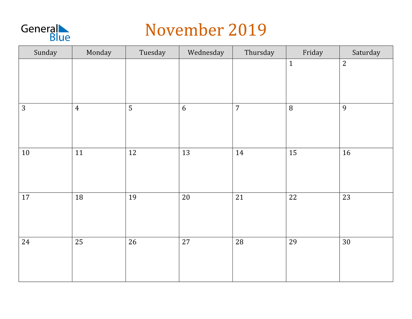 Image of November 2019 Contemporary Orange PDF, Word and Excel Calendar Calendar