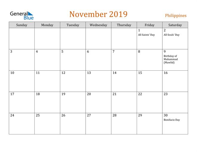 Image of November 2019 Contemporary Orange PDF, Word and Excel Calendar Calendar