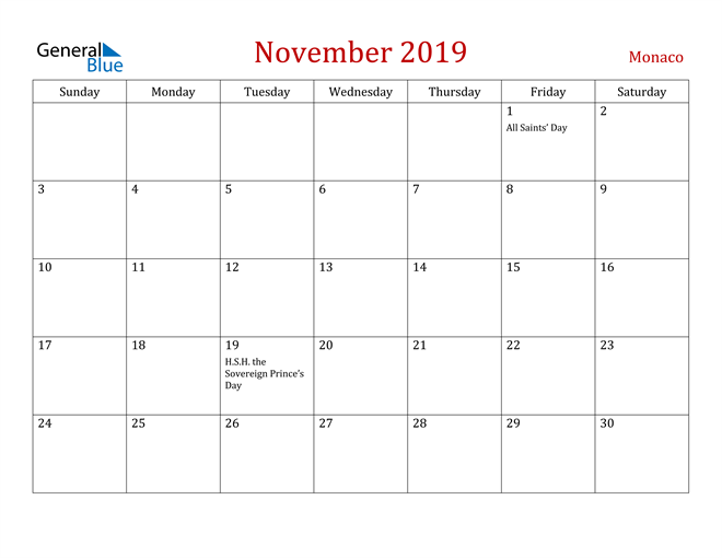 Image of November 2019 Dark and Red Professional Office Calendar Calendar