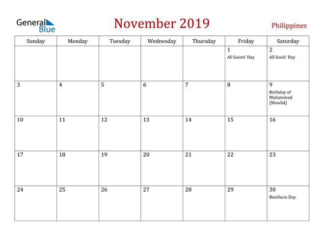 Image of November 2019 Dark and Red Professional Office Calendar Calendar