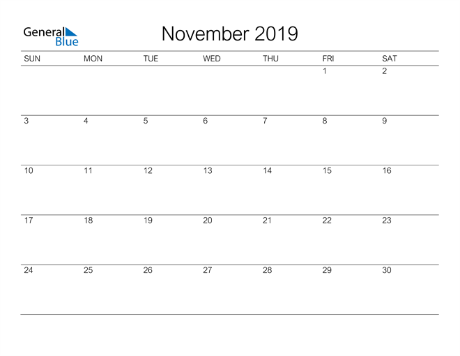 Image of November 2019 A Streamlined Design, The Perfect Printable Calendar. Calendar