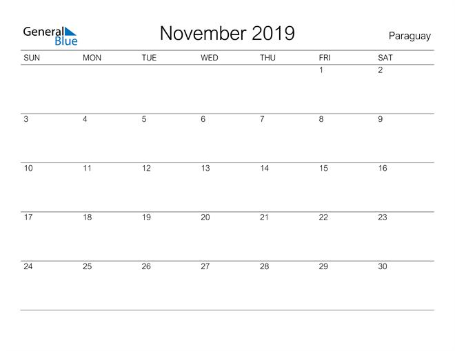 Image of November 2019 A Streamlined Design, The Perfect Printable Calendar. Calendar