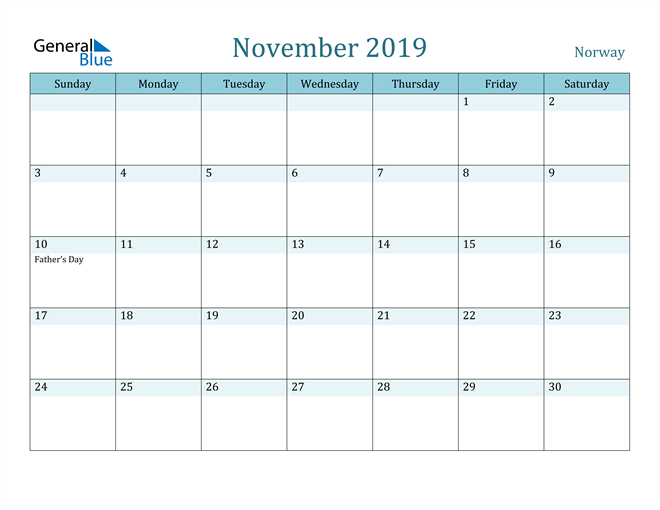 Image of November 2019 Colorful Turquoise Calendar in PDF, Word and Excel Calendar