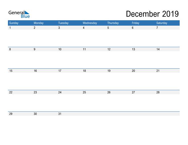 Fillable Calendar for December 2019