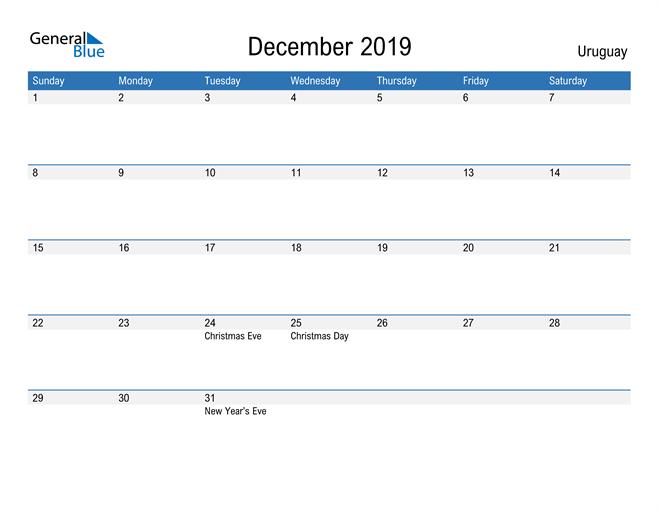 Fillable December 2019 Calendar
