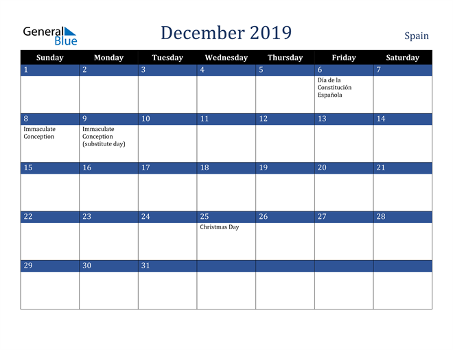 Image of December 2019 Stylish Dark Blue Calendar in PDF, Word and Excel Calendar