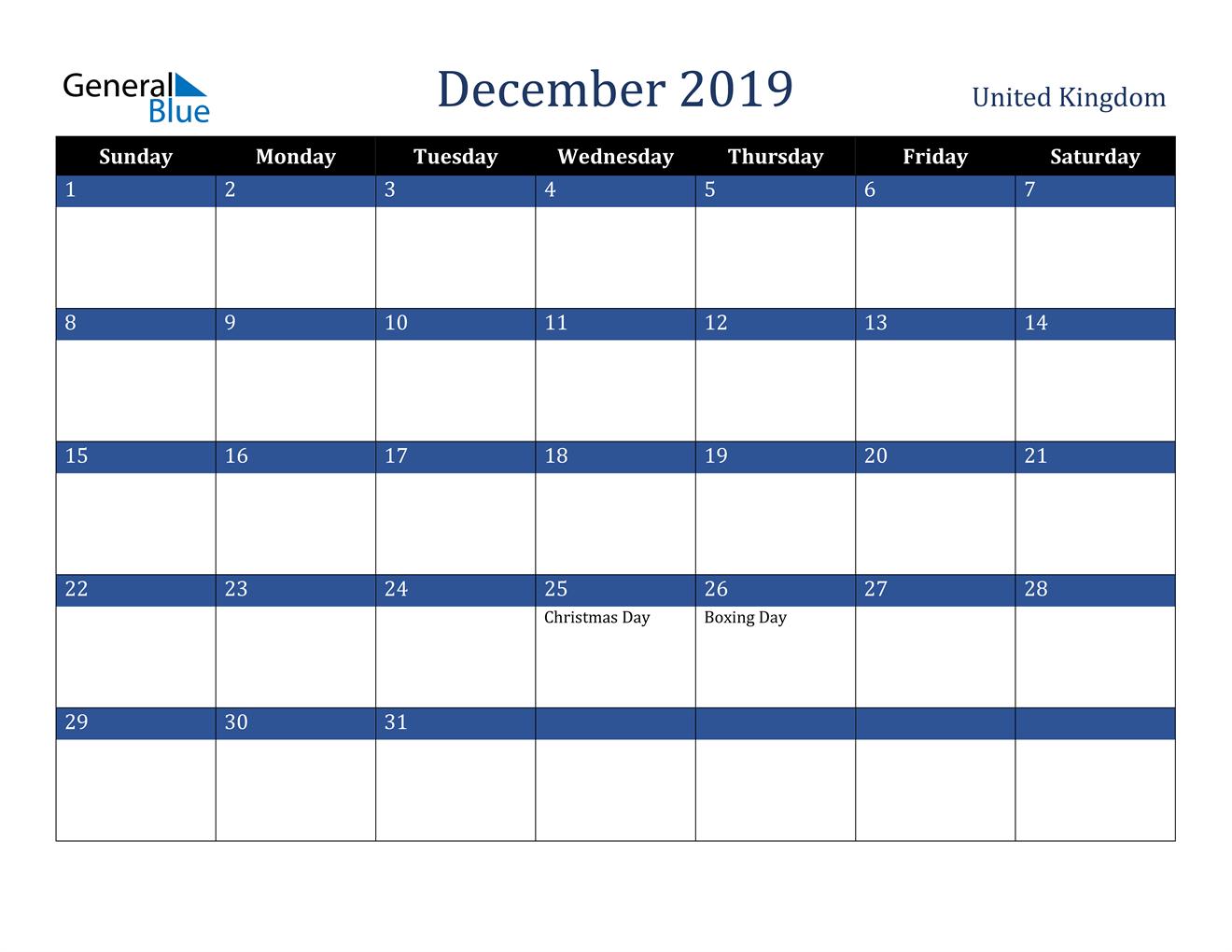 Image of December 2019 Stylish Dark Blue Calendar in PDF, Word and Excel Calendar