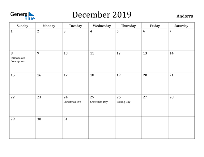 Image of December 2019 Andorra Calendar with Holidays Calendar