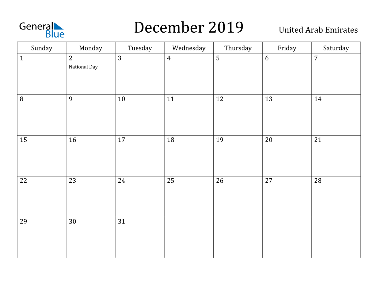 Image of December 2019 United Arab Emirates Calendar with Holidays Calendar