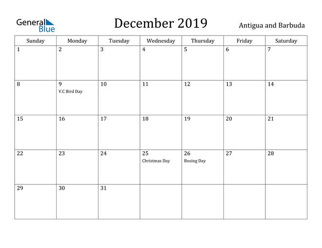 Image of December 2019 Antigua and Barbuda Calendar with Holidays Calendar
