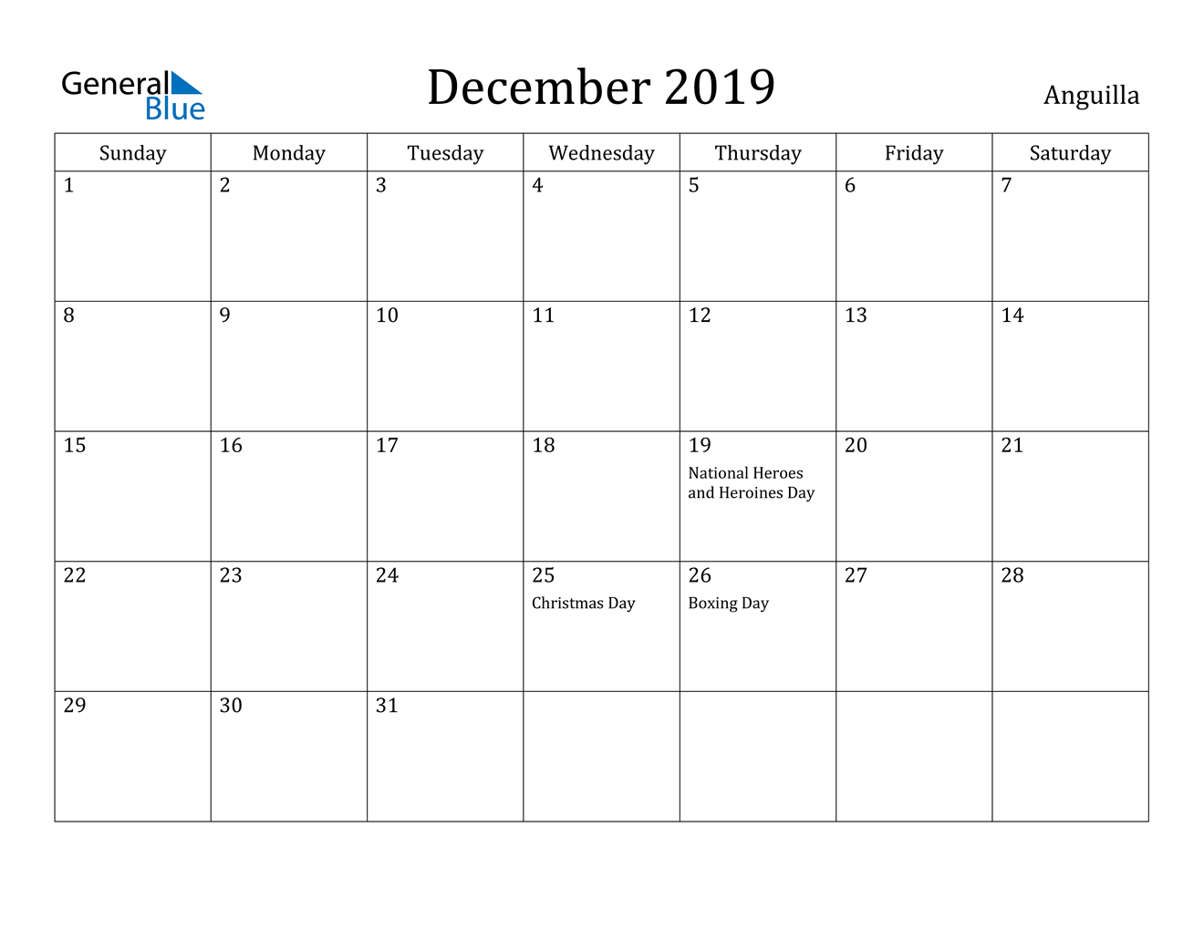 Image of December 2019 Anguilla Calendar with Holidays Calendar