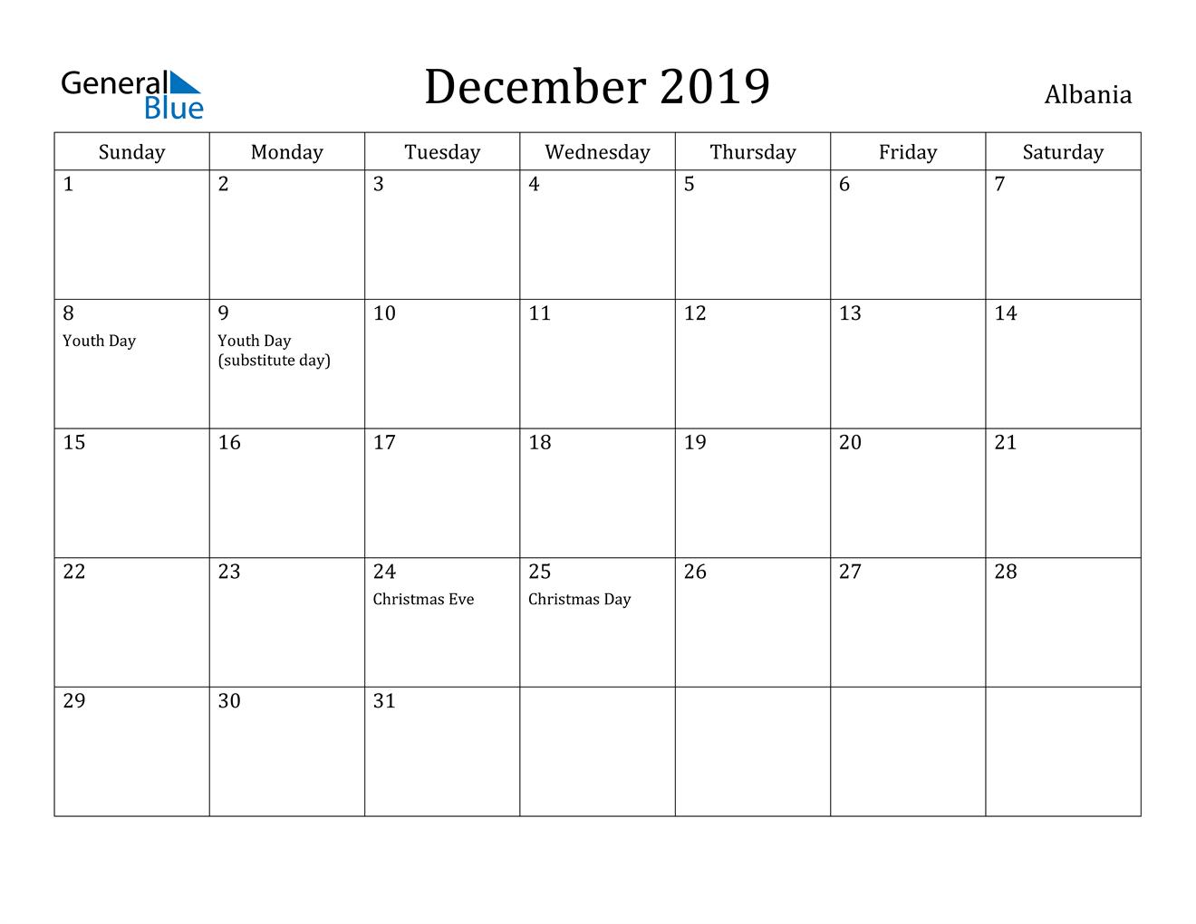 Image of December 2019 Albania Calendar with Holidays Calendar