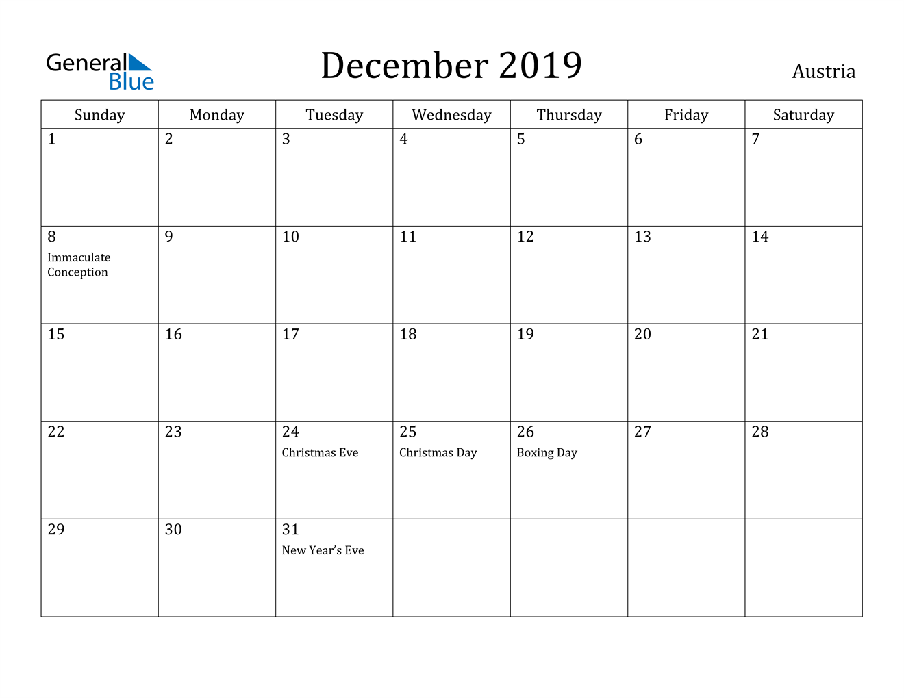 Image of December 2019 Austria Calendar with Holidays Calendar