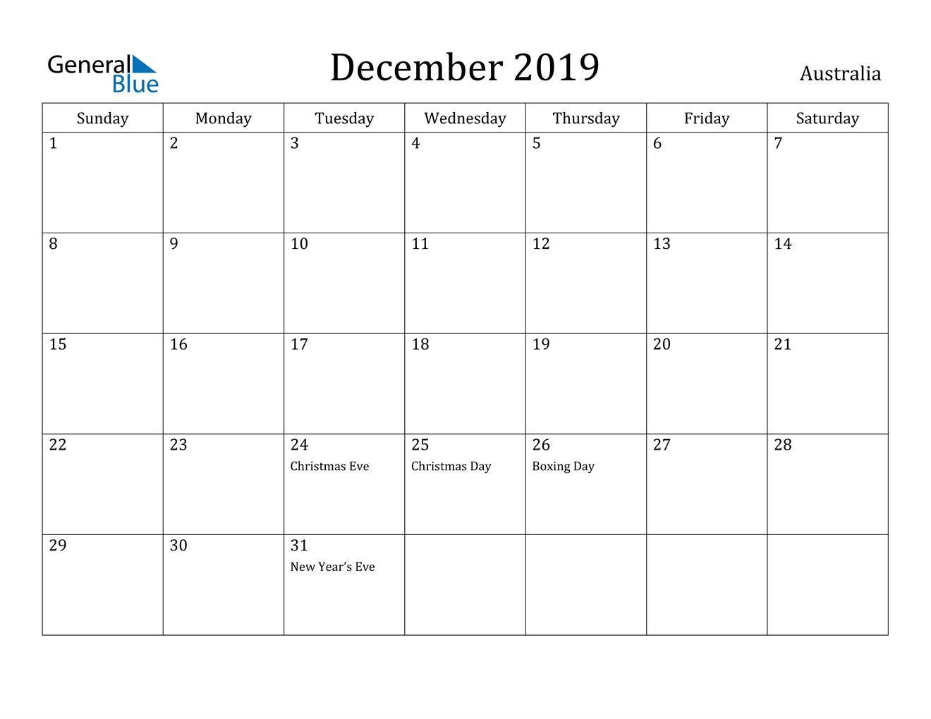 Image of December 2019 Australia Calendar with Holidays Calendar