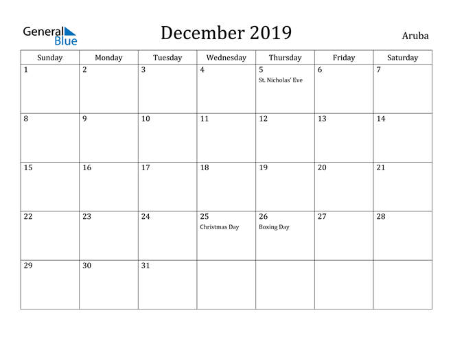 Image of December 2019 Aruba Calendar with Holidays Calendar