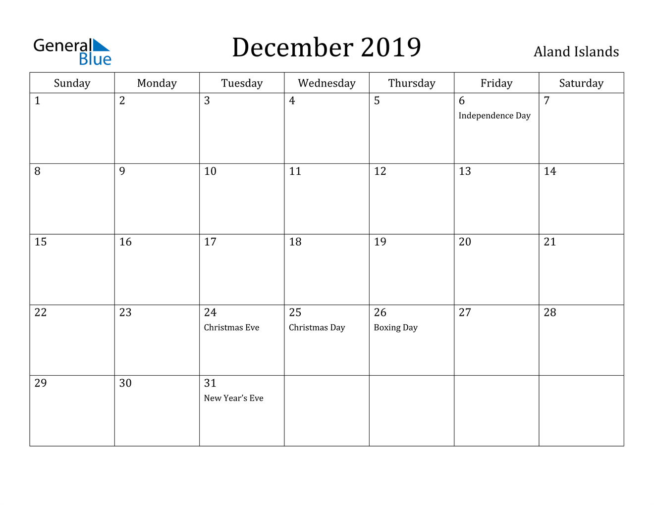 Image of December 2019 Aland Islands Calendar with Holidays Calendar