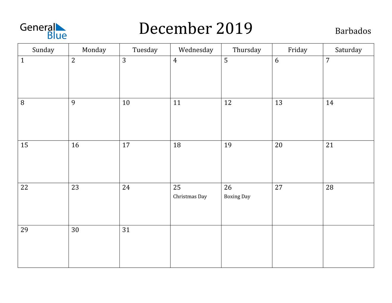 Image of December 2019 Barbados Calendar with Holidays Calendar