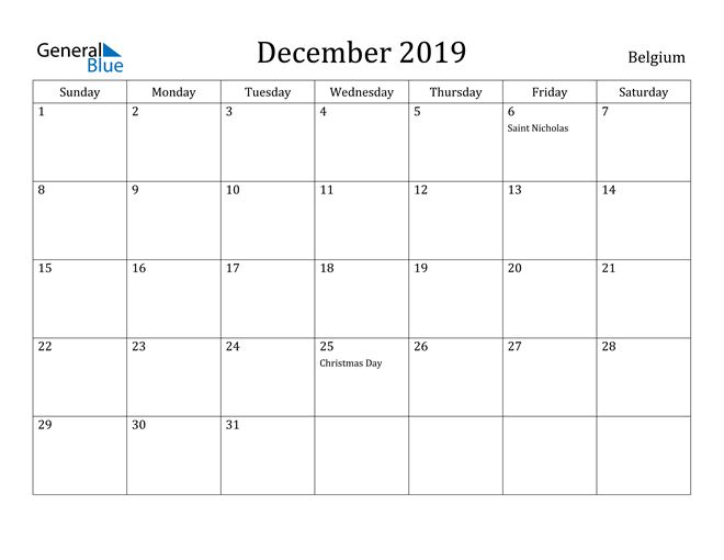 Image of December 2019 Belgium Calendar with Holidays Calendar