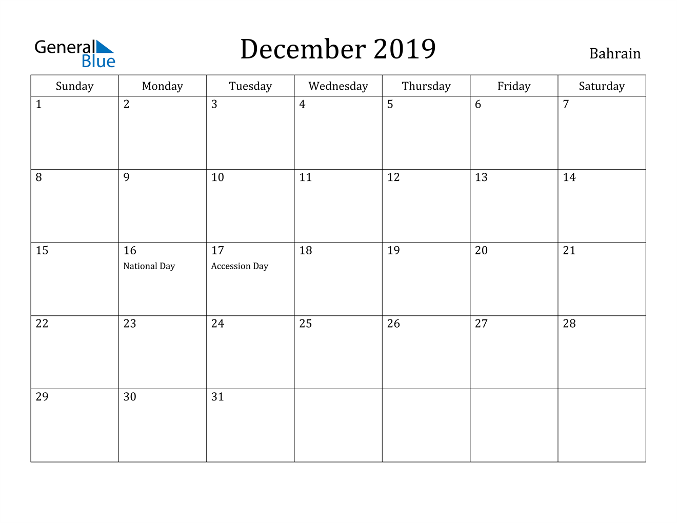Image of December 2019 Bahrain Calendar with Holidays Calendar