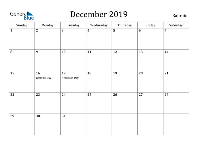 Image of December 2019 Bahrain Calendar with Holidays Calendar