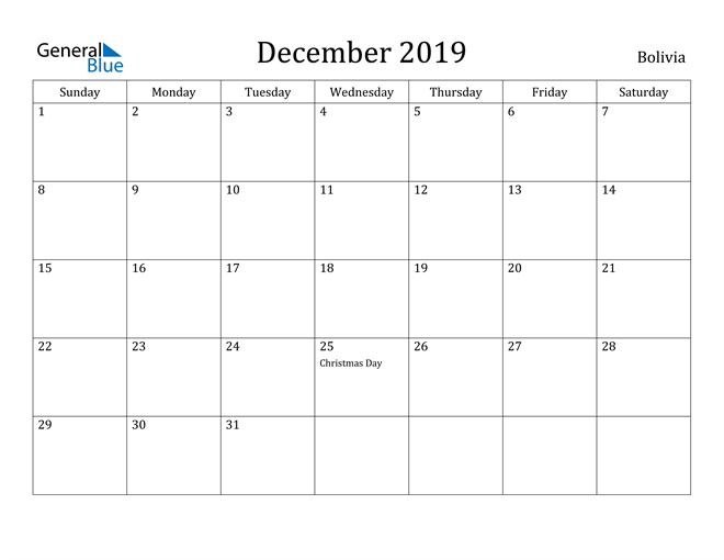 Image of December 2019 Bolivia Calendar with Holidays Calendar