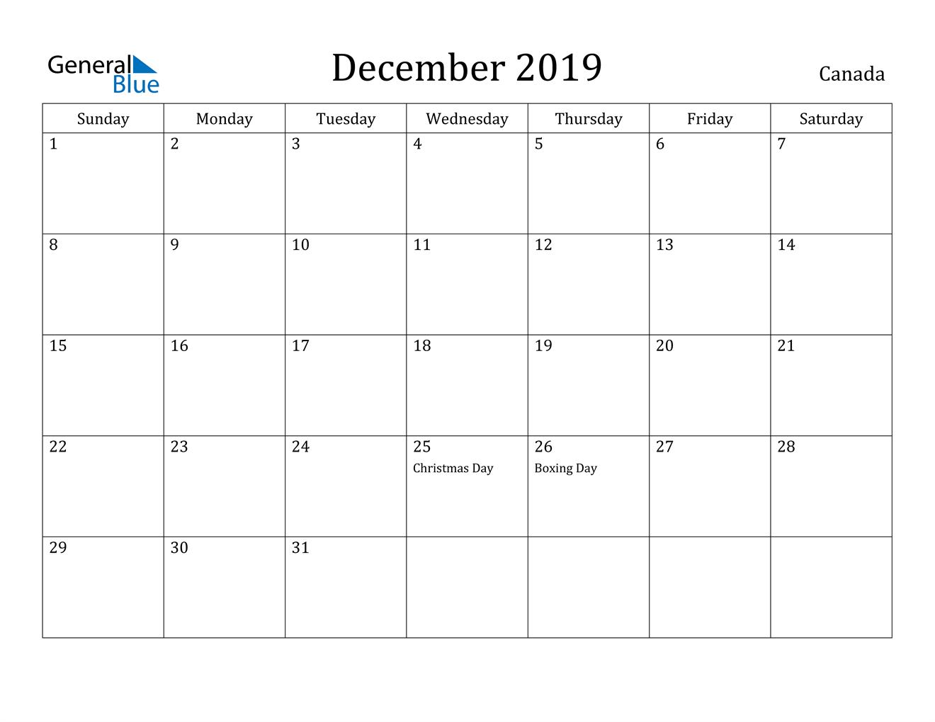 Image of December 2019 Canada Calendar with Holidays Calendar