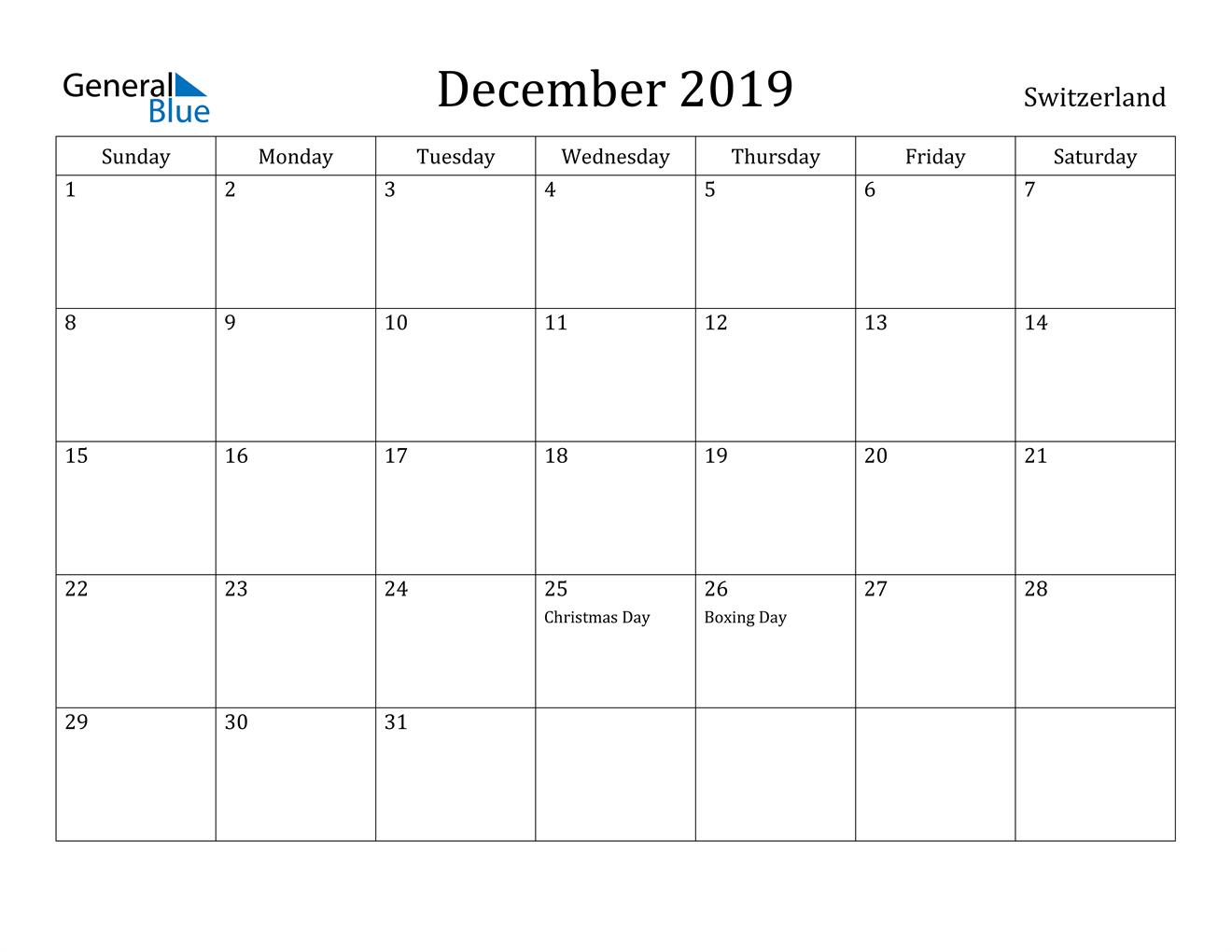 Image of December 2019 Switzerland Calendar with Holidays Calendar