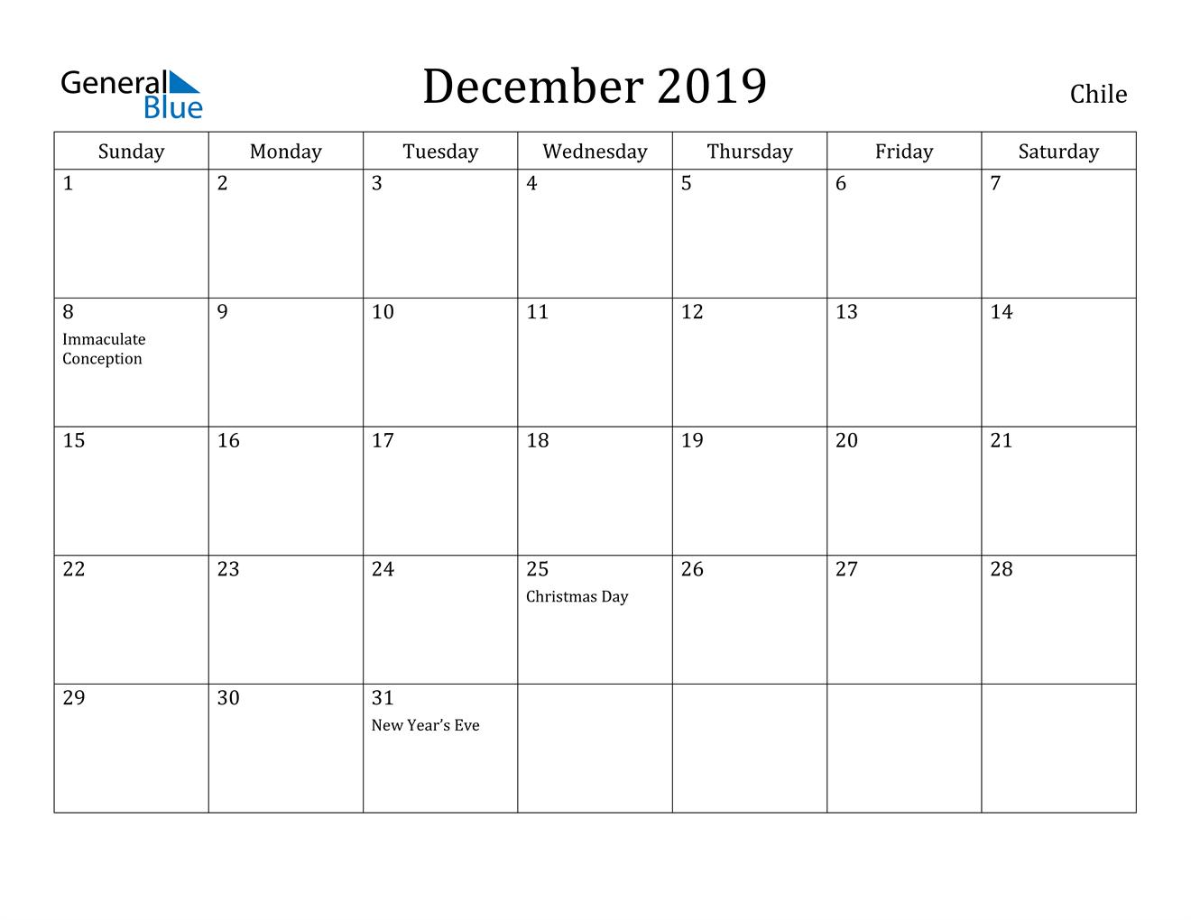 Image of December 2019 Chile Calendar with Holidays Calendar