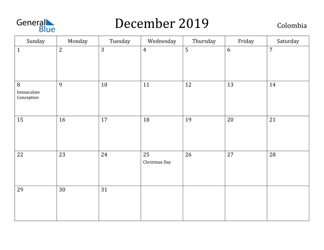 Image of December 2019 Colombia Calendar with Holidays Calendar