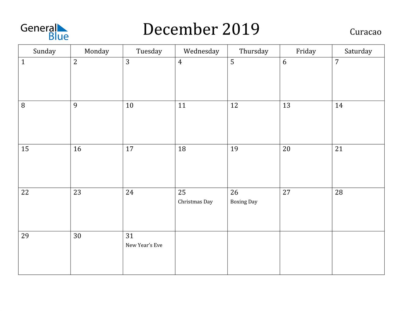 Image of December 2019 Curacao Calendar with Holidays Calendar